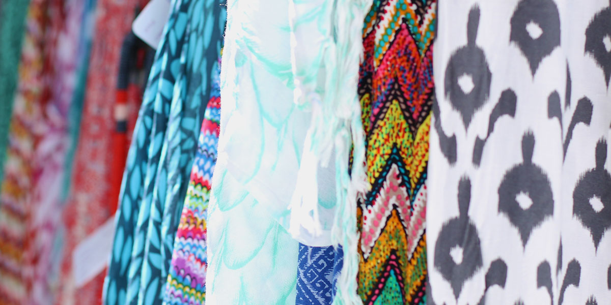 Different coloured and patterned outfits