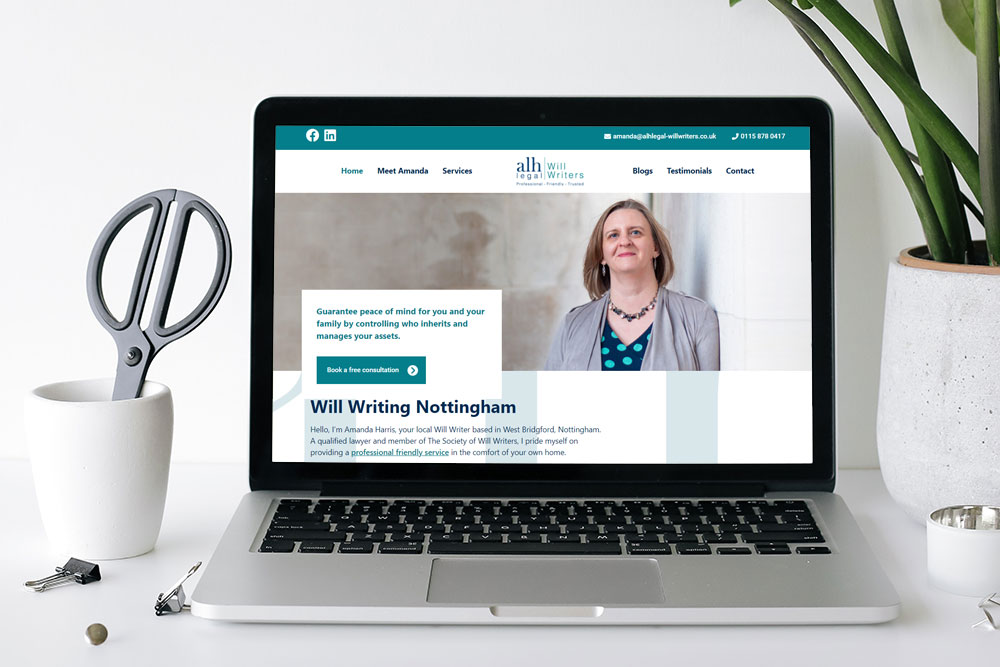Website design and development for Amanda Harris at ALH Legal Will Writers